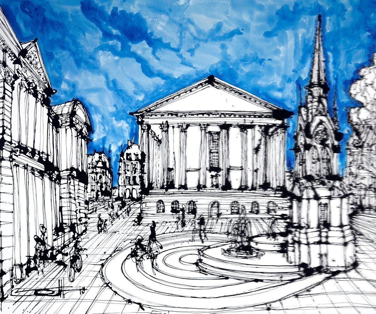 The Chamberlain Square, Birmingham by Ingo -  sized 43x35 inches. Available from Whitewall Galleries